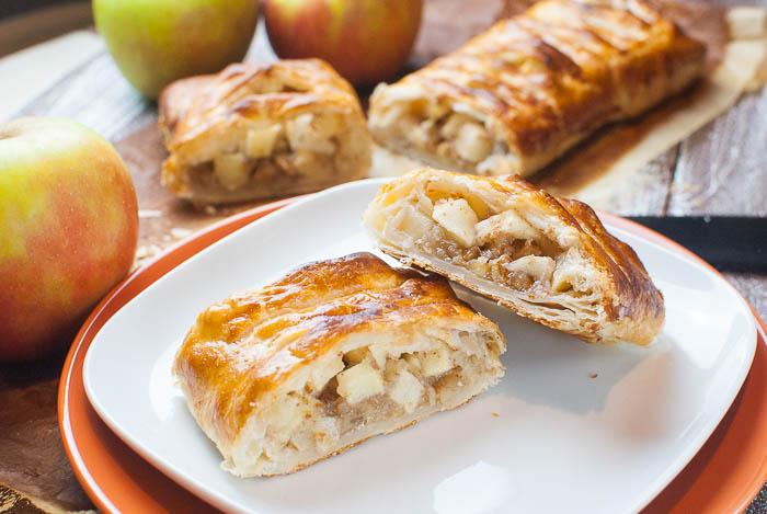 Schneller Apfelstrudel mit Blätterteig und Walnüssen
