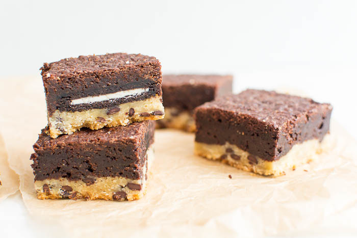 Vegane Slutty-Brownies: Cookies + Oreos + Brownies