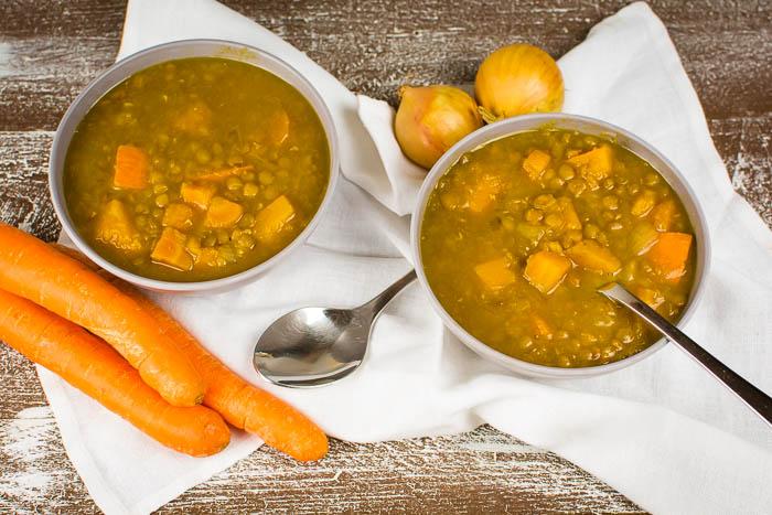 Veganer Kürbis-Linsen-Eintopf (Instant Pot Rezept)