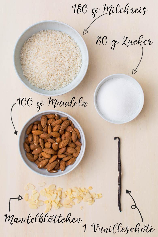 Vanille-Milchreis aus selbstgemachter Mandelmilch (vegan)