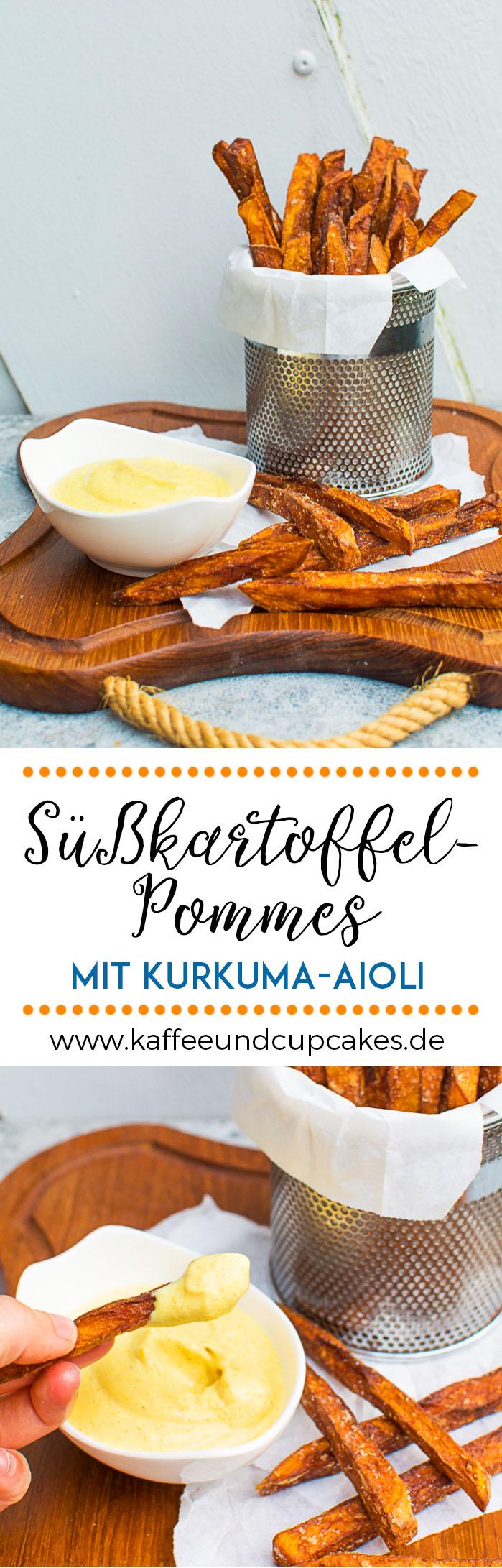 Frittierte Süßkartoffel-Pommes mit Kurkuma-Aioli
