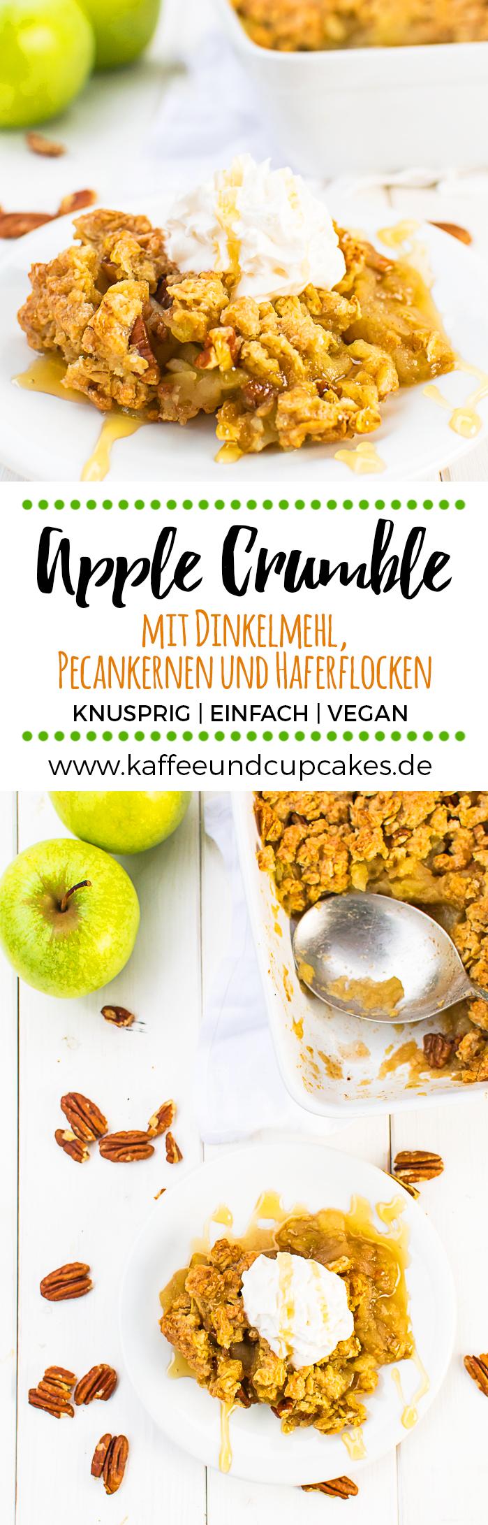 Apple Crumble mit Dinkelmehl, Pecankernen und Haferflocken (vegan)
