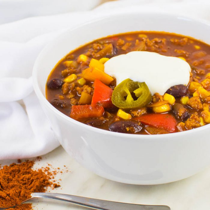 Scharfes veganes Chili mit Soja-Granulat