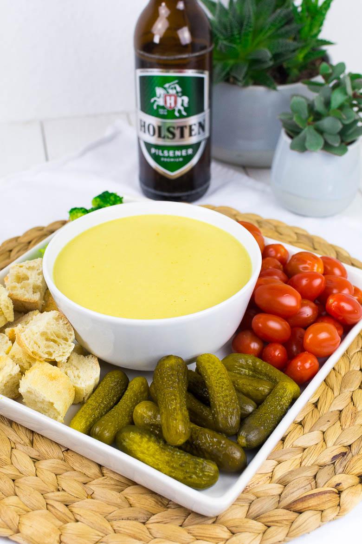 Himmlisches veganes Fondue mit Weißwein oder Bier
