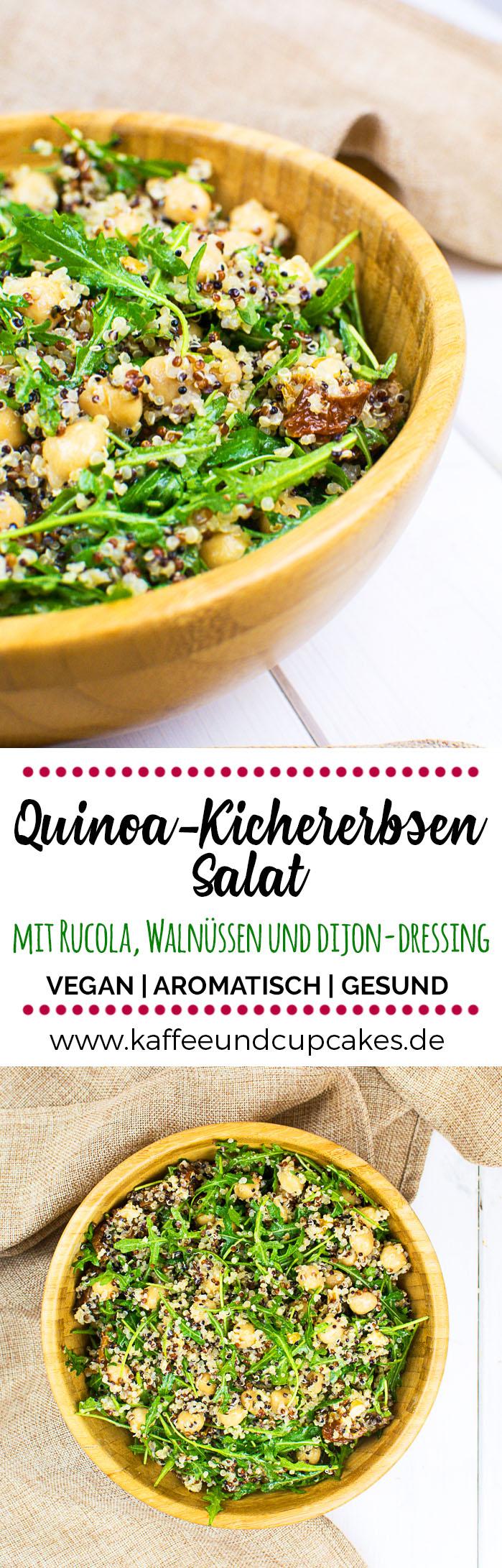 Quinoa-Kichererbsen-Salat mit Rucola, getrockneten Tomaten, Walnüssen und einem Dijon-Zitronen-Dressing mit Knoblauch | Kaffee & Cupcakes